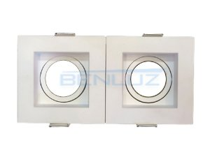 Spot Recuado Duplo Branco Para Dicroica MR16 LED Medidas 20x10cm (Sem Lâmpadas)