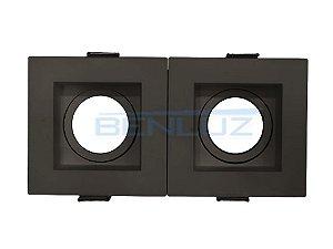 Spot Recuado Duplo Preto Para Dicroica MR16 LED Medidas 20x10cm (Sem Lâmpadas)