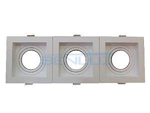 Spot Recuado Triplo Branco Para Dicroica MR16 LED Medidas 30x10cm (Sem Lâmpada)