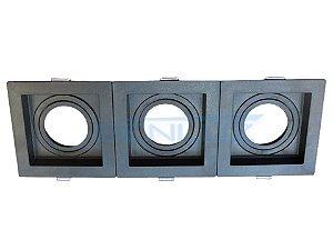 Spot Recuado Triplo Preto Para Dicroica MR16 LED Medidas 30x10cm(Sem Lâmpada)