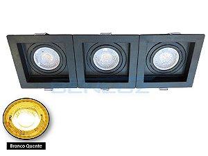 Spot Recuado Triplo Preto Para Dicroica MR16 LED Medidas 30x10cm Branco Quente