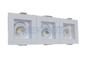 Spot Recuado Triplo Branco Para Mini Dicroica MR11 LED Medidas 07 x 21cm Branco Frio