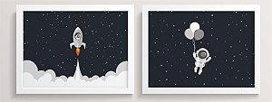 Conjunto de Quadros - Astronauta