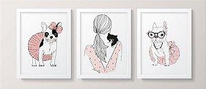 Conjunto de Quadros - Garota Pets