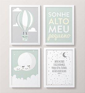 Conjunto de Quadros - Lua, Balão, Nuvem