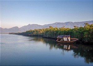 Calmaria de um rio com barco e natureza