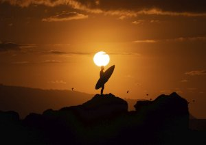 Surfista com sua prancha em cima de uma pedra e aves voando no pôr do sol