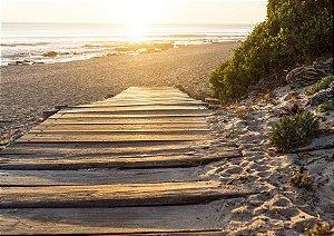Caminho da felicidade com o sol nascendo