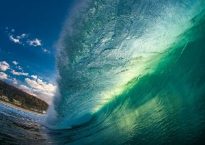 Green wave off the wall
