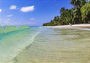 Onda cristalina na beira da praia