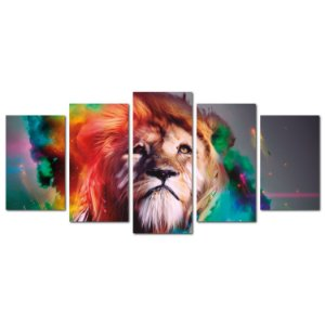 Leão Aquarela (Mosaico 5 peças)