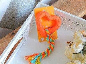 Brinquedo Pet Mordedor Coraçãozinho com Corda