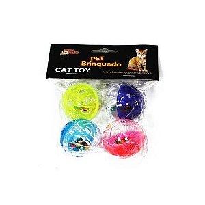 Brinquedo Pet Bolinha em Acrílico com Guizo Para Gatos