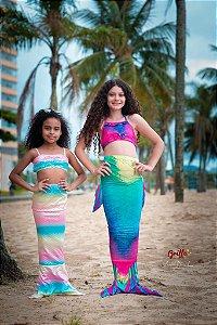 Conjunto Sereia Multicolor Calda Barbatanas