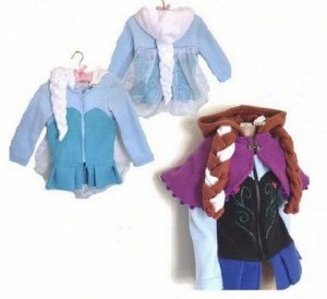 Jaqueta frozen com trança de capuz Elza e Ana