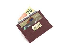 Carteira porta cartão vinho personalizada
