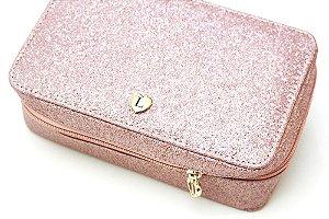 Necessaire modelo Leticia rosê glitter
