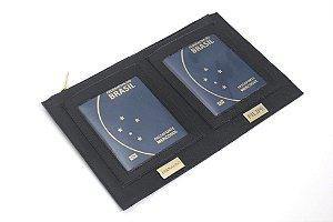 Porta passaporte grande preto personalizado