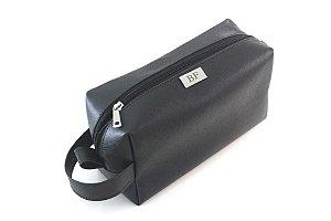 Necessaire quadrada preta com alça personalizada