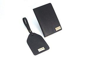 Kit tag de mala + porta passaporte preto