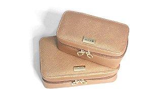 Necessaire Leticia P e M rosê gold personalizadas
