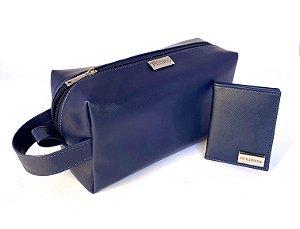 Kit necessaire + carteira azul marinho personalizado