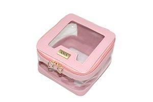 Necessaire Marina rosa blush transparente personalizada