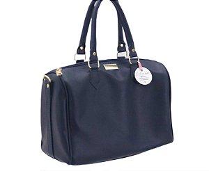 Bolsa baú azul marinho ferragens douradas personalizada
