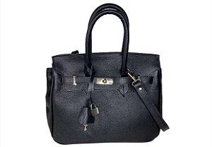 Bolsa Bárbara couro preto ferragens prata personalizada