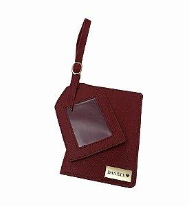 Porta passaporte individual +tag de mala vinho