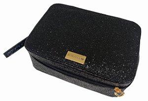 Porta maquiagens grande preto glitter personalizado