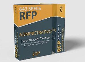 RFP Administrativo | Especificações técnicas Módulos Administrativos | 643 specs