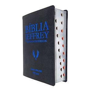 Bíblia Jeffrey de Estudos Proféticos - Luxo Preta e Azul