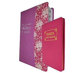 Bíblia De Estudo Feminina Mulher Cristã Pink + Harpa Cristã