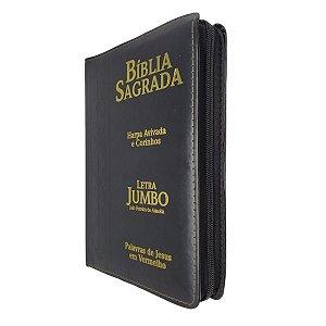 Bíblia Sagrada Com Letra Jumbo Zíper Preta Arabesco - CPP