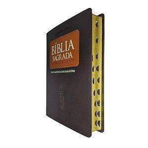 Bíblia Sagrada Letra Extragigante NTLH - Capa Luxo Marrom