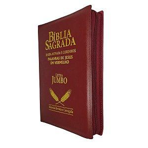 Bíblia Sagrada Letra Jumbo Com Harpa - Vinho Zíper - Cpp