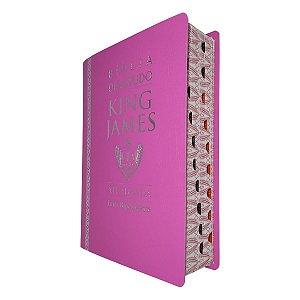 Bíblia de Estudo King James Atualizada Capa Luxo Rosa - CPP