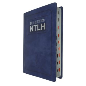 Bíblia de Estudo NTLH Média Capa Luxo Azul Com Índice - SBB