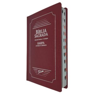 Bíblia Sagrada Slim Capa Coverbook Bordô Com Harpa - CPP