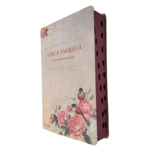 Bíblia NVI Letra Gigante Semi Luxo Rosas e Pássaros