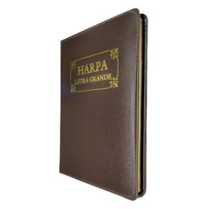Harpa Original Com Corinhos Letra Grande Capa Couro - Marrom