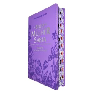 Bíblia de Estudo da Mulher Sábia Harpa Lilás Flores - CPP