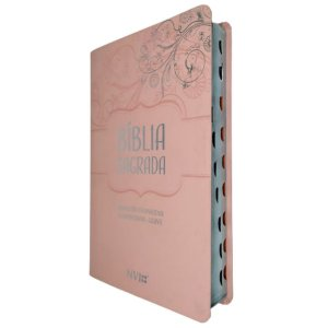 Bíblia NVI Letra Gigante Capa Luxo Rosa Claro Geográfica