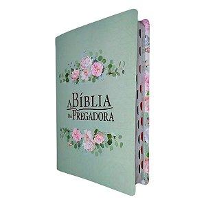 A Bíblia Da Pregadora RC Média Verde Com Rosas - Esperança