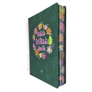 Bíblia Ilustrada Anote Espiral NVT Cores e Flores Geográfica
