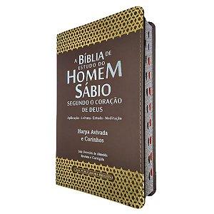 A Bíblia De Estudo Do Homem Sábio Harpa Capa Marrom - Cpp