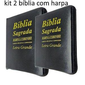 kit 2 Bíblias Sagrada Letra Grande Preta Tijolinho Zíper