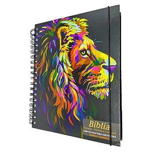Bíblia Anote Espiral JFA Harpa - Leão Paint Perfil - Cpp