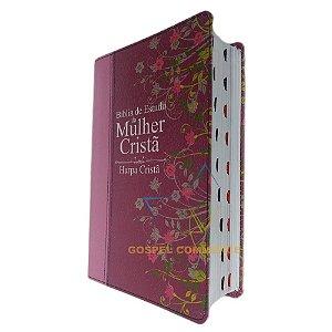 Bíblia De Estudo Da Mulher Cristã Com Índice - Média Pink Com Harpa - Cpad
